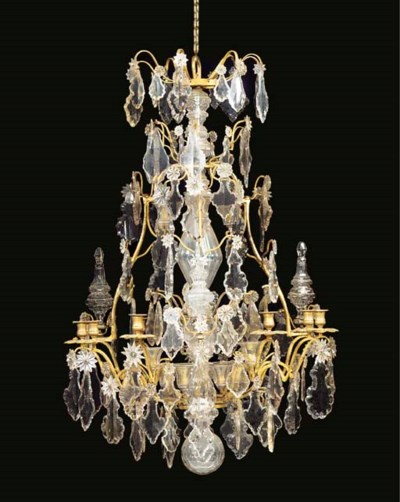 A LOUIS XV STYLE CRYSTAL, CUT-