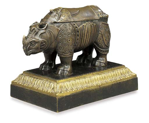 AN EMPIRE PATINATED BRONZE AND ORMOLU INKWELL