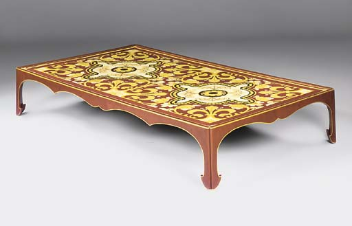 A RED-PAINTED AND PARCEL-GILT LOW TABLE