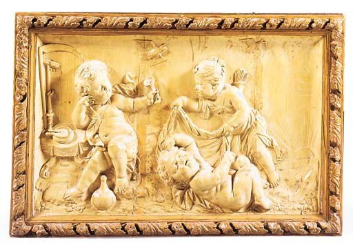 A RECTANGULAR CARVED WOOD ALLE
