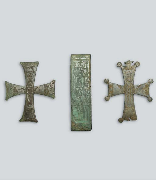 TWO BRONZE PROCESSIONAL CROSSE