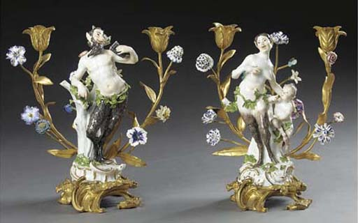 A PAIR OF ORMOLU-MOUNTED AND MEISSEN PORCELAIN TWO-LIGHT CANDELABRA