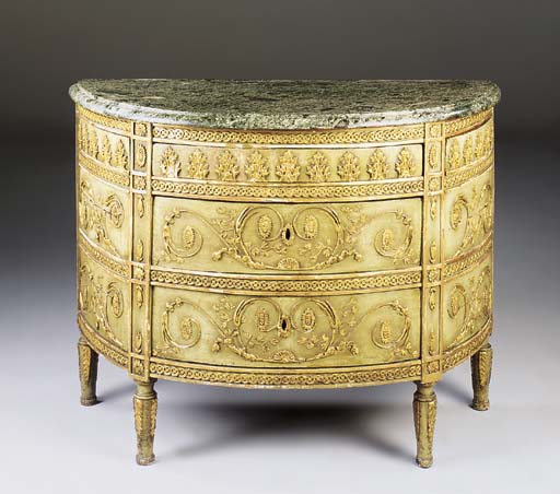A NORTH ITALIAN PARCEL-GILT AND GREEN-DECORATED DEMI-LUNE COMMODE