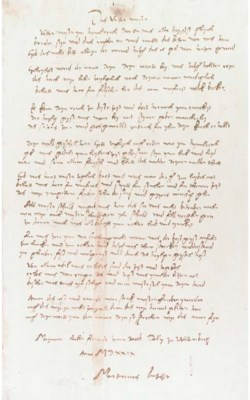 LUTHER FORGERY. Manuscript in