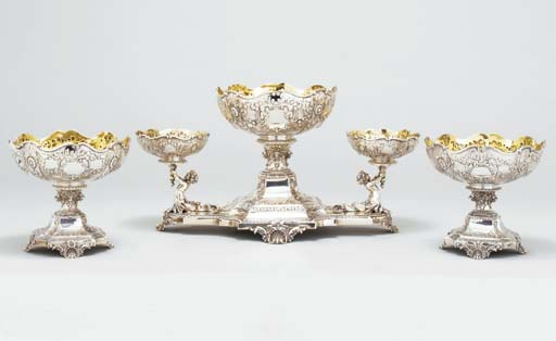 An Edward VII silver epergne a