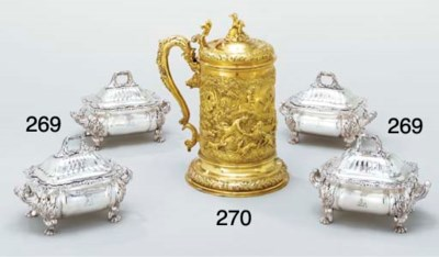 A large George IV silver-gilt