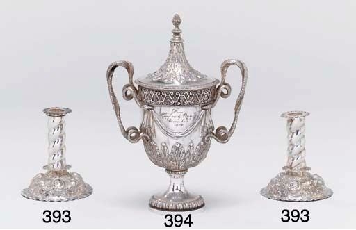 A pair of Victorian silver can