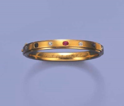 A VICTORIAN GOLD AND GEM-SET R