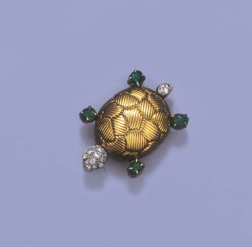 AN EMERALD AND DIAMOND TURTLE