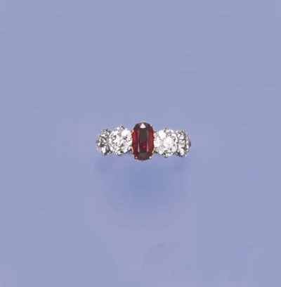 AN ANTIQUE RUBY AND DIAMOND FI