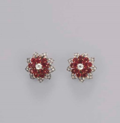 A PAIR OF RUBY AND DIAMOND FLO