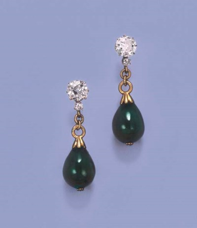 A PAIR OF FINE ANTIQUE EMERALD