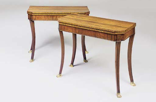 A PAIR OF REGENCY ROSEWOOD AND