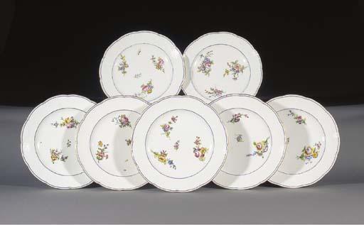Seven Sevres plates
