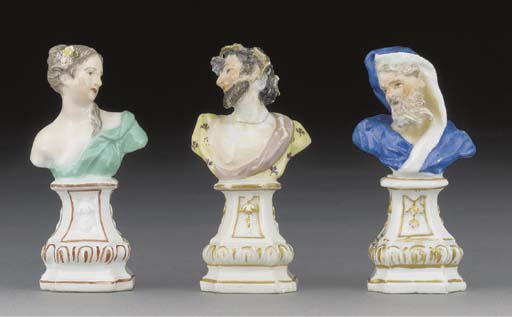 Three Meissen busts emblematic