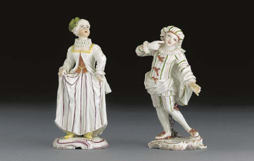 Two Frankenthal figures of Sca