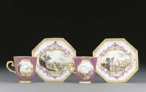 A pair of Meissen purple-groun