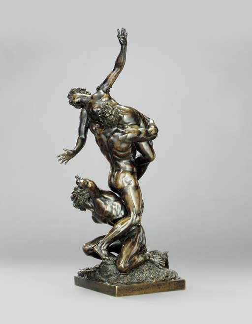 A BRONZE GROUP DEPICTING THE R