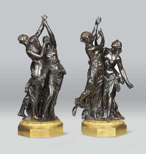 A PAIR OF BRONZE GROUPS OF BAC