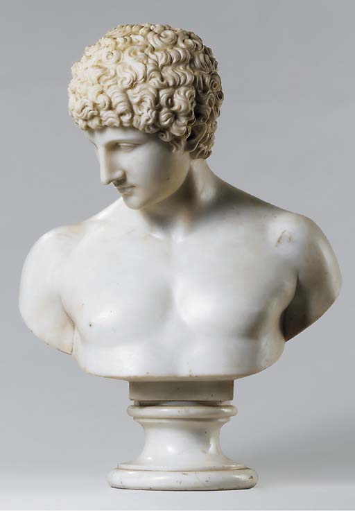 A CARVED MARBLE BUST OF THE CA