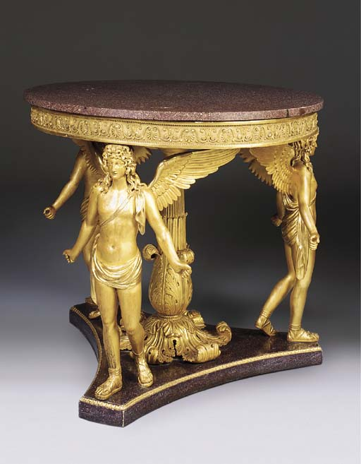 AN EMPIRE TWO-TONE GILTWOOD CE