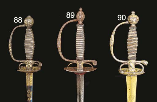 A SMALL-SWORD WITH GOLD-ENCRUS