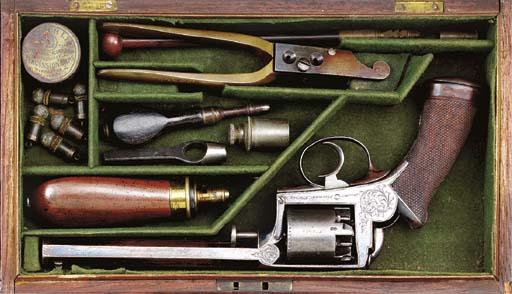 A CASED 54-BORE ADAMS 1851 MOD