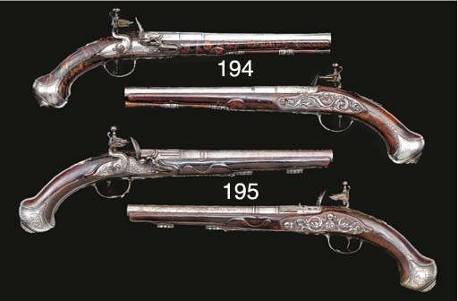 A PAIR OF 28-BORE FLINTLOCK HO