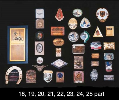 A collection of plaques and ba