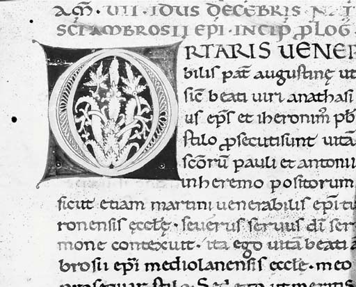 INITIAL O, on the verso of a cutting with PAULINUS OF MILAN, Vita Sancti Ambrosii, in Latin, ILLUMINATED MANUSCRIPT ON VELLUM