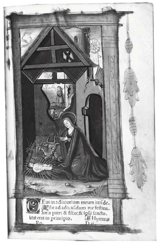 HORAE, use of Rome, in Latin -- Hore divine virginis Marie, secundum usum Romanum. Paris: Germain Hardouin [n.d., almanac for 1520-1532].
