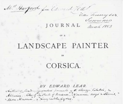 LEAR, Edward. Journal of a Lan