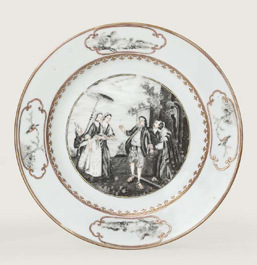 A GRISAILLE AND GILT 'LES OIES DE FRERE PHILIPPE' PLATE
