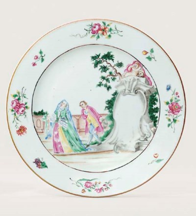 A RARE FAMILLE ROSE PLATE WITH