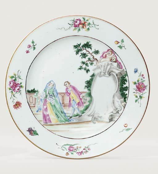 A RARE FAMILLE ROSE PLATE WITH 'THE TOMBSTONE'