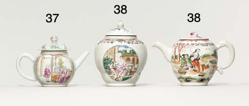 A FAMILLE ROSE EUROPEAN-SUBJECT TEAPOT AND COVER