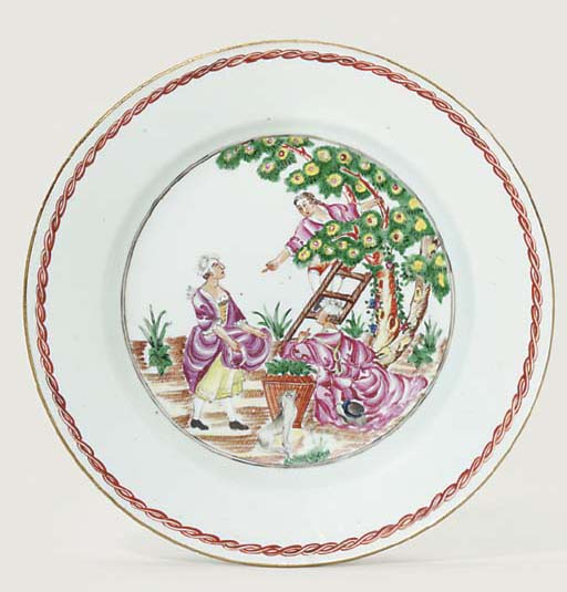 A FAMILLE ROSE 'CHERRY PICKERS' PLATE