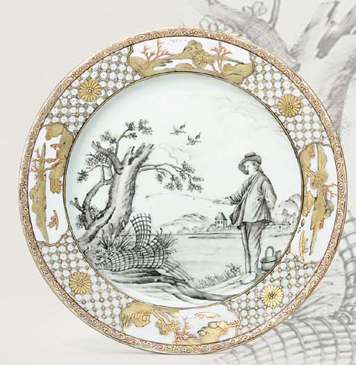 A GRISAILLE AND GILT 'LE PECHE