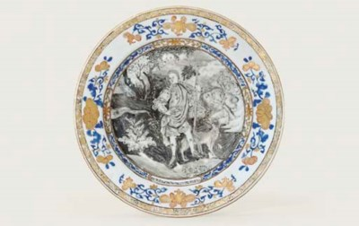A GRISAILLE, GILT AND BLUE ENA