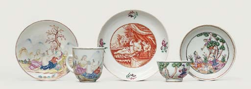 A FAMILLE ROSE SAUCER; A COFFE