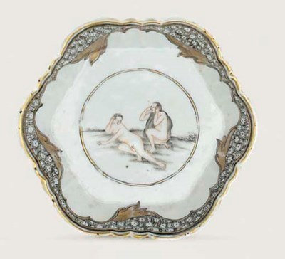 A GRISAILLE AND GILT 'EROTIC'