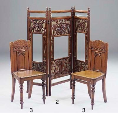 An art Nouveau mahogany three