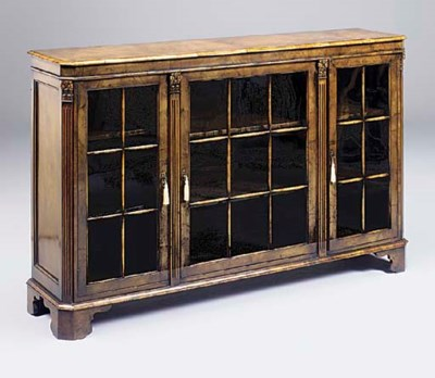 A walnut dwarf bookcase, circa
