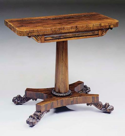A rosewood games table, early