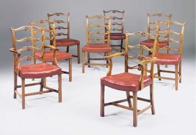 A set of eight mahogany ladder