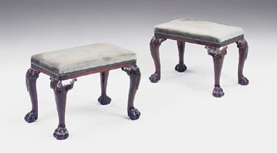 a pair of mahogany stools, lat