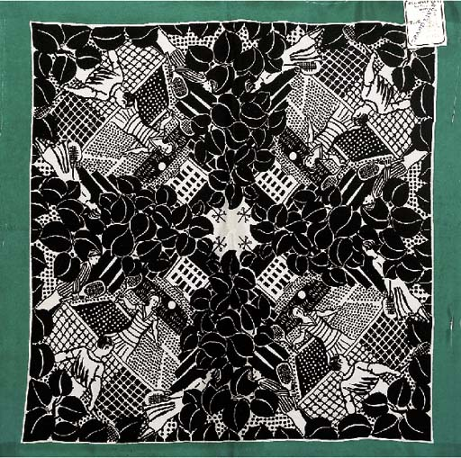 Raoul Dufy design, a sample scarf of crepe silk, printed symmetrically on diagonal axes in black and white with Raoul Dufy's 'Tennis Players', with a green outer border--62in. (155cm.) square, labelled Bianchini Ferier Rue Vaucanson Lyon 27116, inscribed 52 echarpe carre impression No.1
