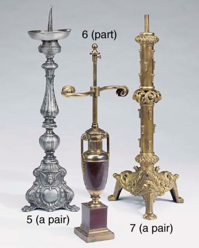 A pair of pewter altar pricket