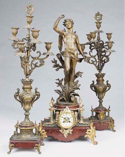 A French spelter, marmo rouge