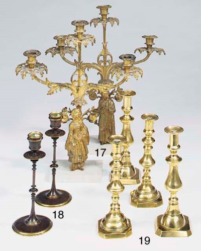 A pair of French parcel gilt a